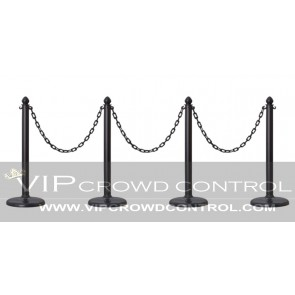 Plastic Stanchion Set with Flat Base (4 pcs) + 32' Chain
